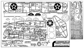 Stearman 76 - WW-2 Navy biplane trainer, 16 in wingspan by Comet model airplane plan