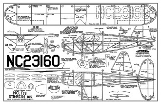 Stinson 105 - 16 in span, 1939 kit no. F78 by Guillow model airplane plan