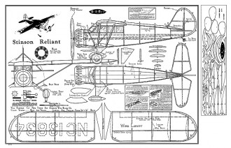 Stinson Reliant - by Megow, straight wings, round wingtips model airplane plan