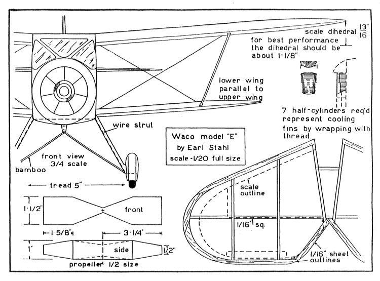 WACO 1 model airplane plan