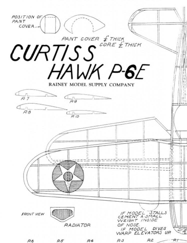 curtisshawhp6e model airplane plan