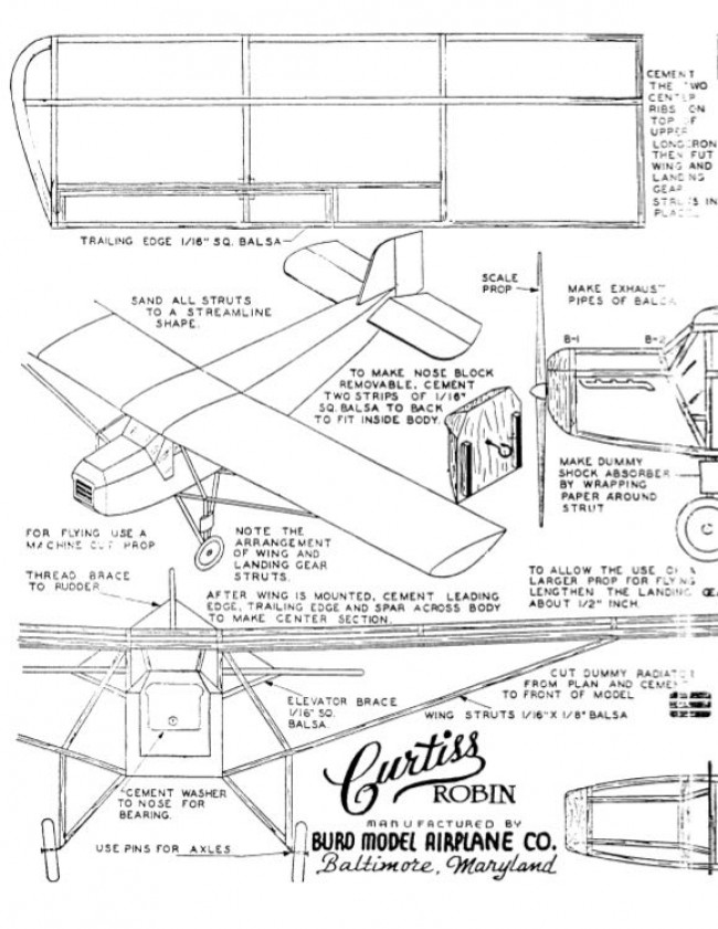 curtissrobin model airplane plan