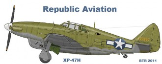 Republic XP-47H Thunderbolt w/Chrysler enging model airplane plan