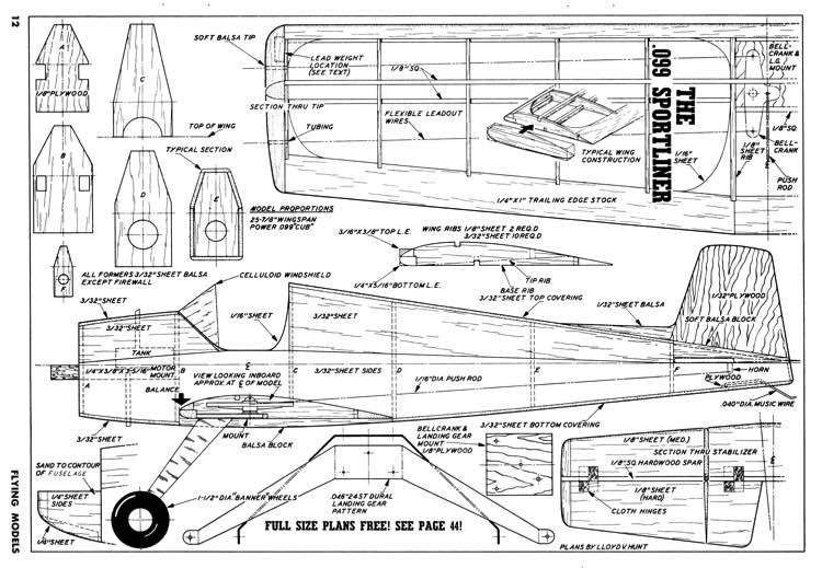 099 Sportliner FM-08-52 model airplane plan