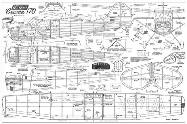 36in Cessna 170 model airplane plan