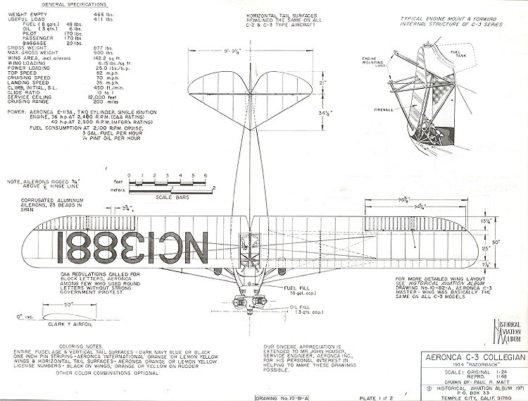 Aeronca C-3 Collegian model airplane plan