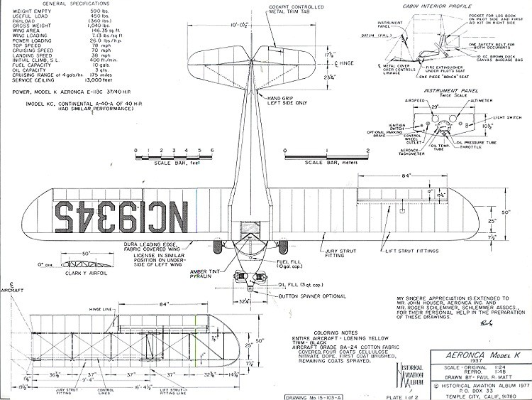 Aeronca Model K model airplane plan