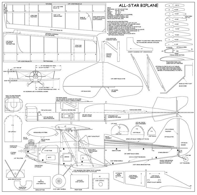 Allstar Bipe-1 model airplane plan