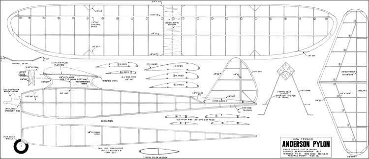 Anderson Pylon Texaco model airplane plan