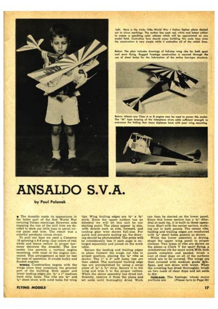 Ansaldo SVA model airplane plan