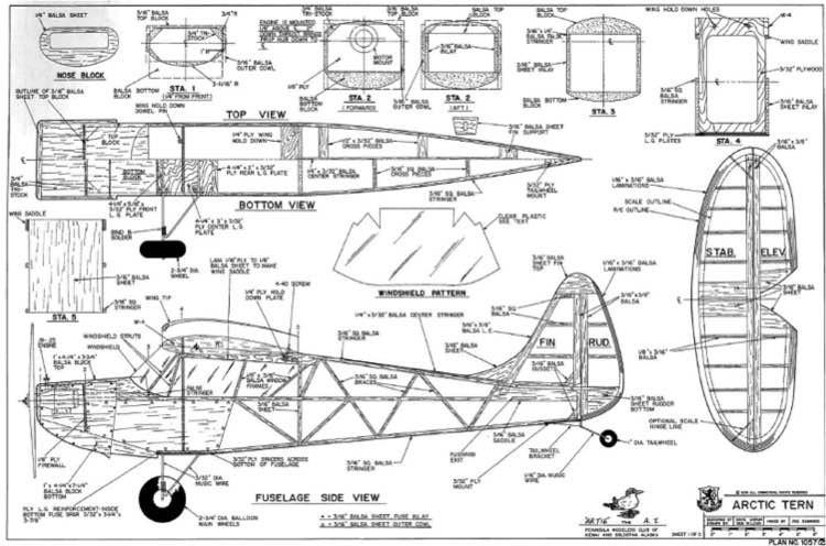 Artic Tern RCM model airplane plan