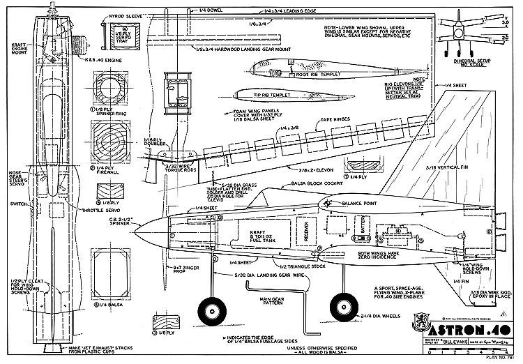 Astron 40 RCM-781 model airplane plan