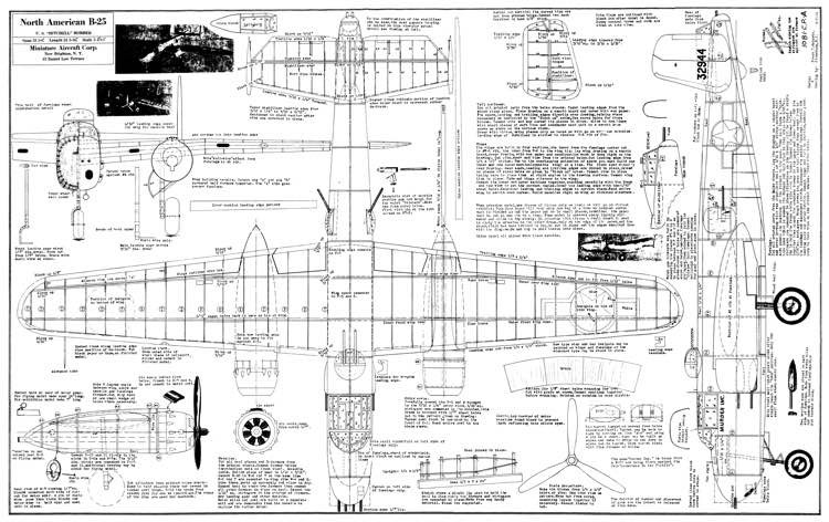 B-25 Mitchell model airplane plan
