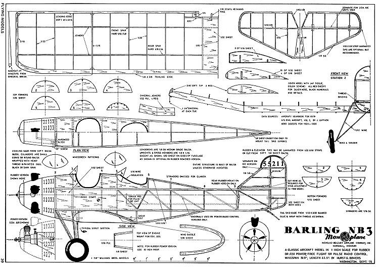 Barling NB-3 model airplane plan