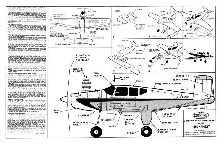 Beechcraft Bonanza model airplane plan