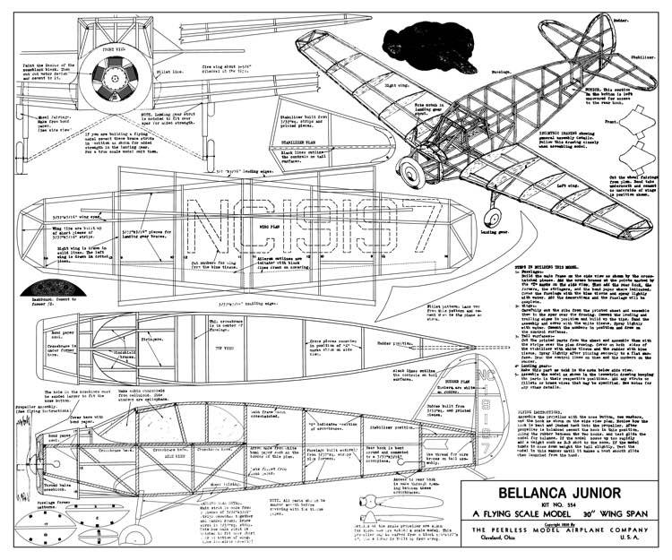 Bellanca Junior Peerless model airplane plan