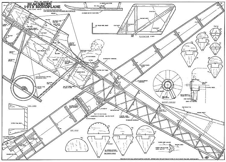 Blackburn Monoplane 50in model airplane plan