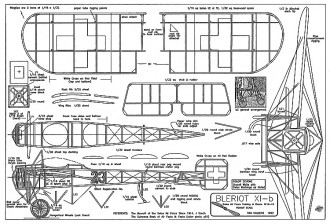 Bleriot XI-b 13in model airplane plan