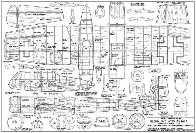 Blohm und Voss BV-141-B model airplane plan