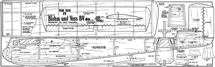 Blohm und Voss BV 40 model airplane plan