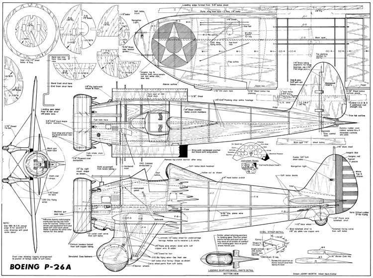 Boeing P-26A Peashooter model airplane plan