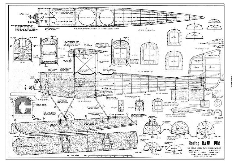 Boeing BW 1916 model airplane plan