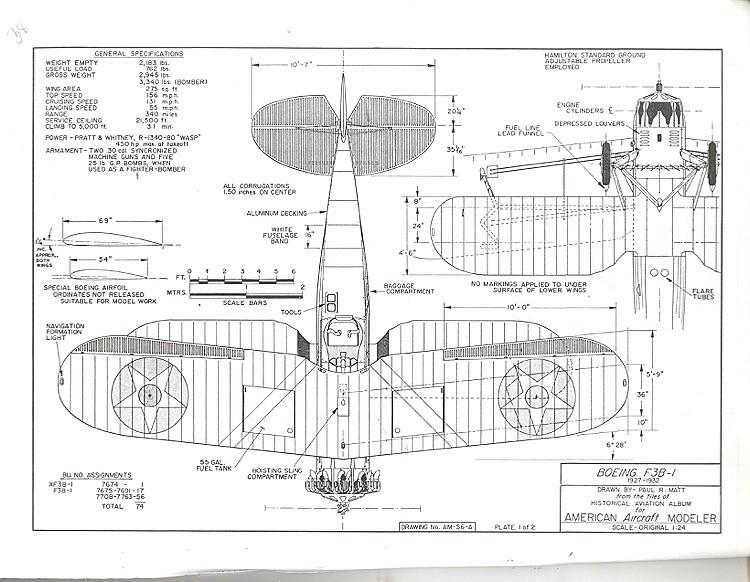 Boeing F3B-1 model airplane plan