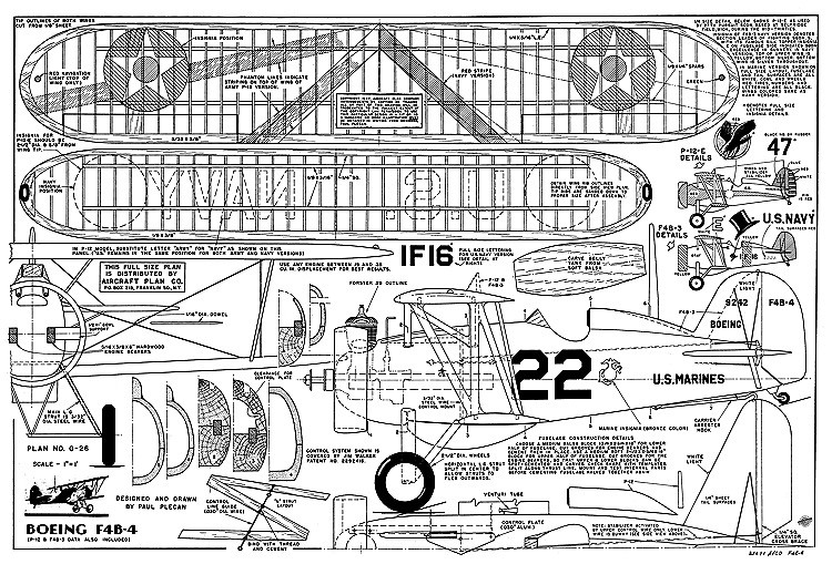 Boeing F4B-4 Plecan model airplane plan