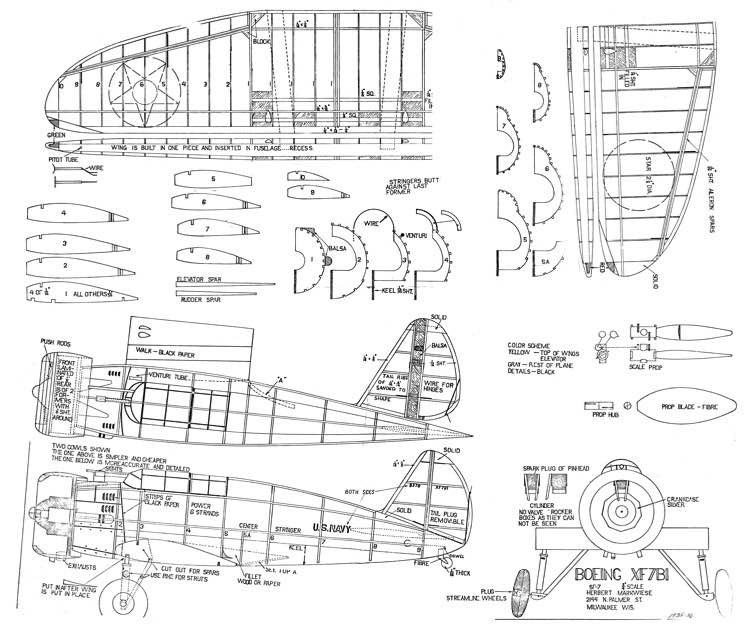 Boeing XF7B1 model airplane plan