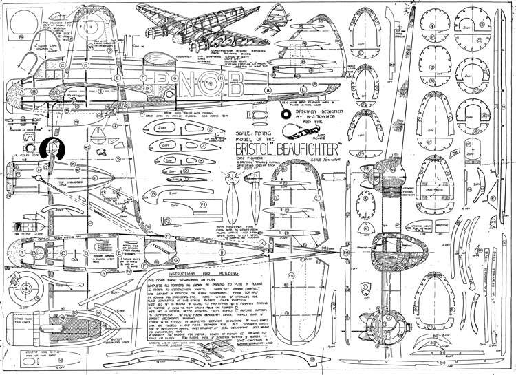 Bristol Beaufighter model airplane plan
