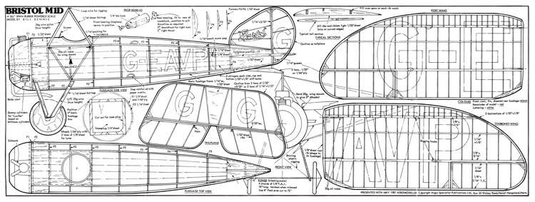 Bristol M.1D model airplane plan