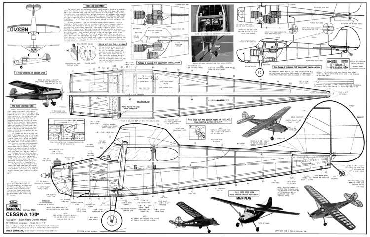 Cessna 170A Guillows kit 1501 model airplane plan