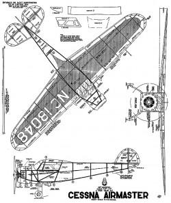 Cessna Airmaster 28in Whitman model airplane plan