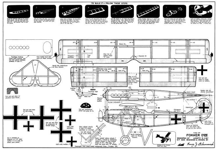 Comet Fokker D7 Kit 3104 model airplane plan