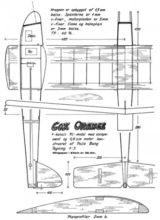 Cox Orange model airplane plan