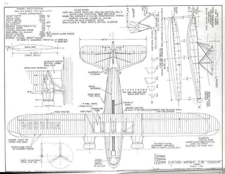 Curtiss-Wright T-32 Condor model airplane plan