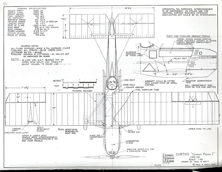 Curtiss Carrier Pigeon 1 model airplane plan