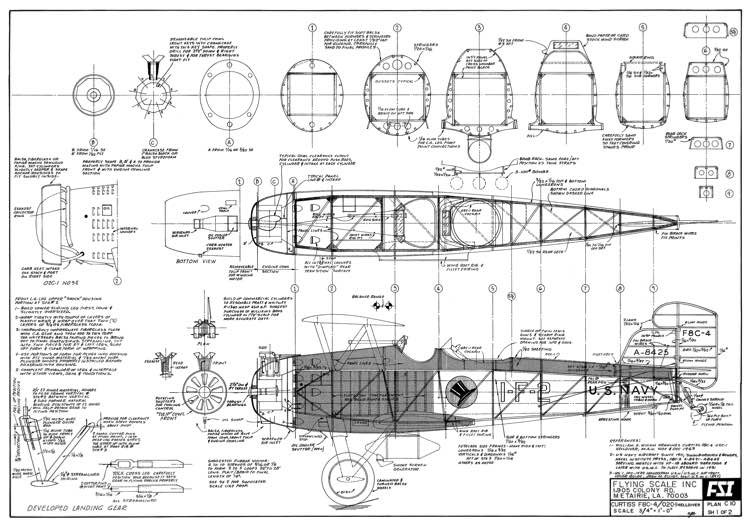 Curtiss F8C-4 Helldiver model airplane plan