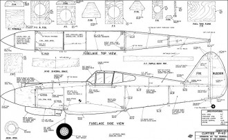Curtiss P-40 62in model airplane plan