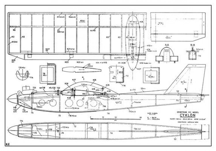 Cyklon model airplane plan