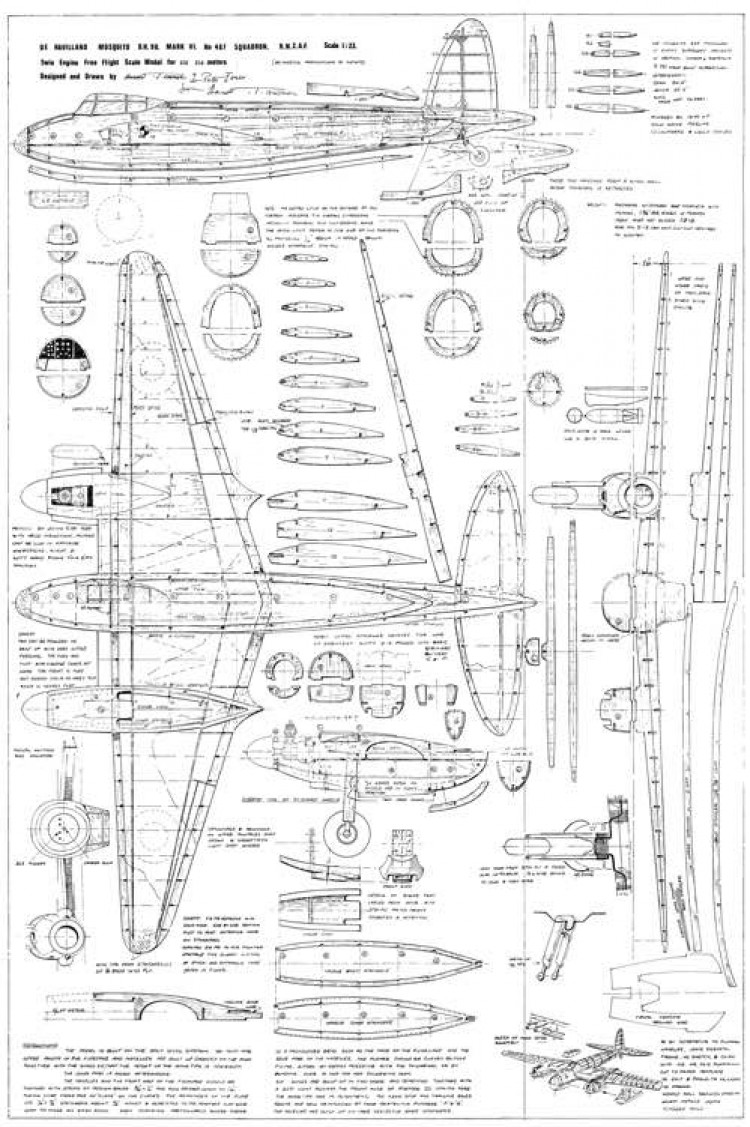 de Havilland DH.98 Mosquito model airplane plan
