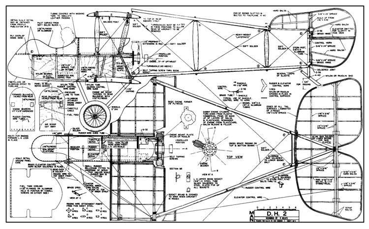 DH 2 model airplane plan