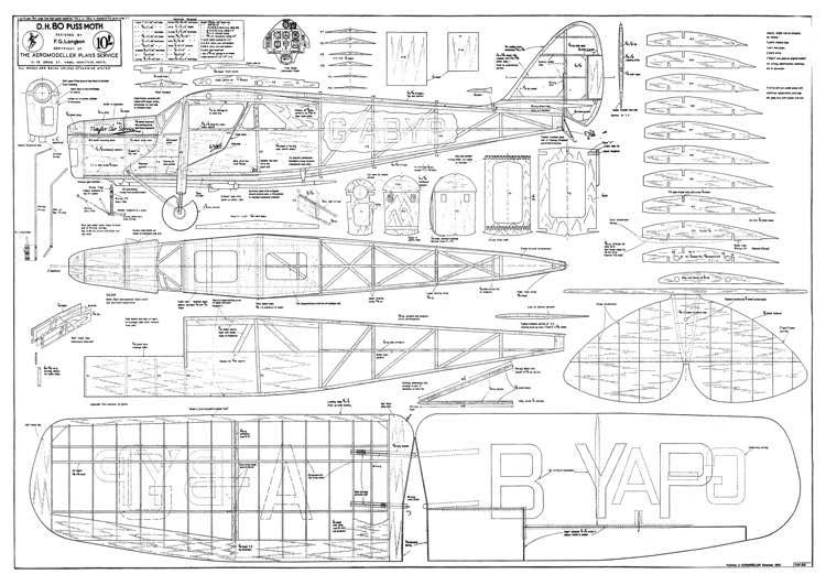 de Havilland DH.80A PussMoth model airplane plan