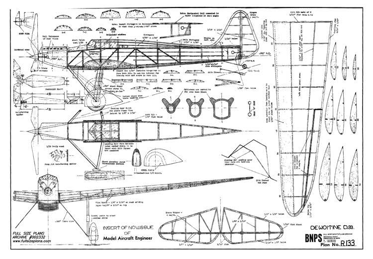 DewoitineD33 model airplane plan