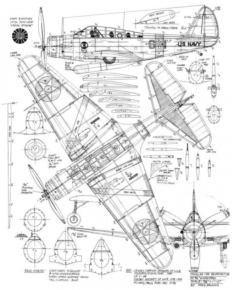 Douglas TBD Devastator model airplane plan