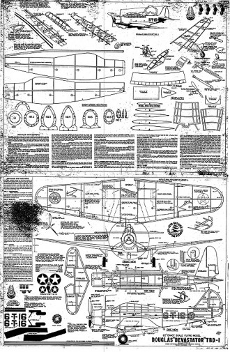Douglas Devastator TBD-1 model airplane plan