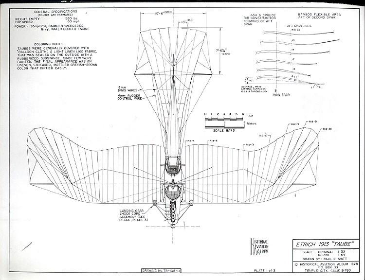 Etrich 1913 Taube model airplane plan