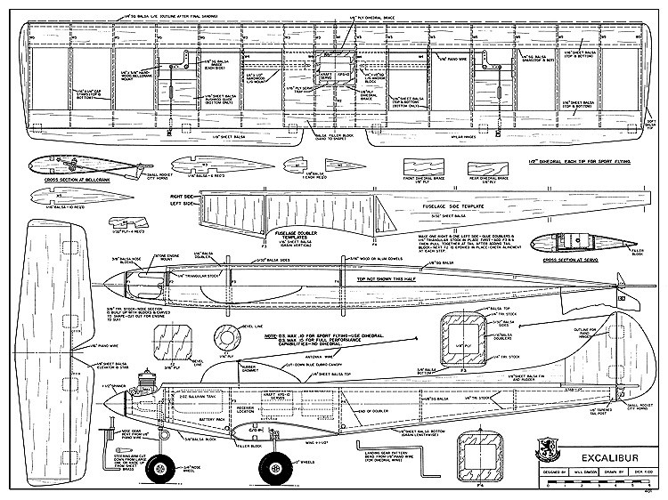 Excalibur RCM-401 model airplane plan