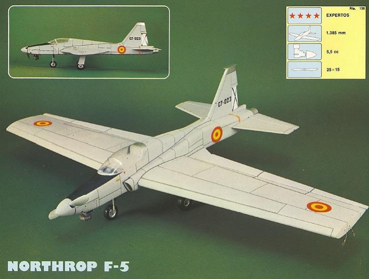 Northrop F-5 model airplane plan