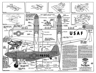 F-82 Twin Mustang CL model airplane plan